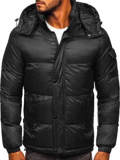 Černá pánská prošívaná zimní bunda Bolf 1161