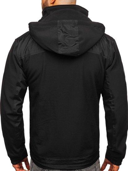 Černá pánská softshellová přechodová bunda Bolf P188