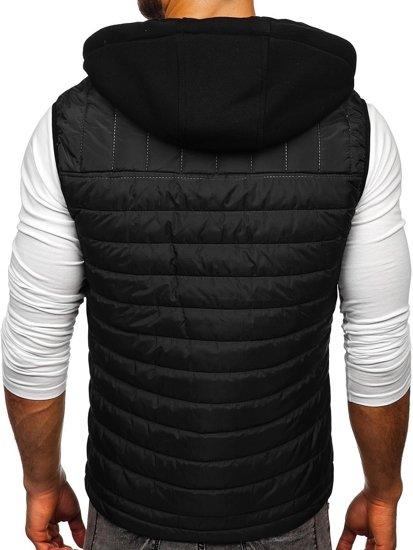 Černá pánská vesta s kapucí Bolf 6102