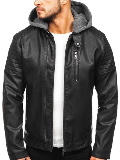 Černá pánská zateplená koženková bunda s kapucí Bolf 92543