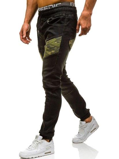 Černé pánské džínové jogger kahoty Bolf 0809