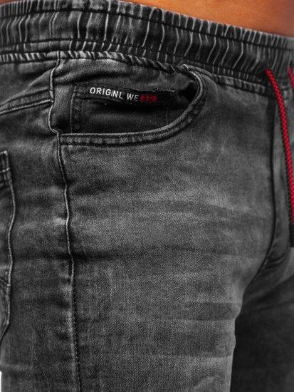 Černé pánské džínové jogger kahoty Bolf HY679