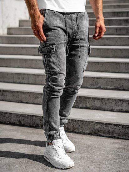 Černé pánské džínové jogger kahoty Bolf KA1311