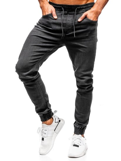 Černé pánské džínové jogger kalhoty Bolf KA1095