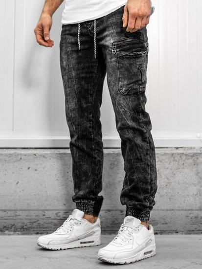 Černé pánské džínové jogger kalhoty Bolf KA687-2