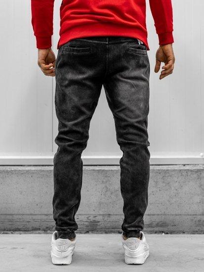 Černé pánské džínové jogger kalhoty Bolf KK1065