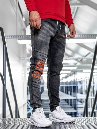 Černé pánské džínové jogger kalhoty Bolf KK1069