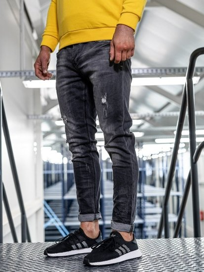 Černé pánské džíny straight leg Bolf KX317