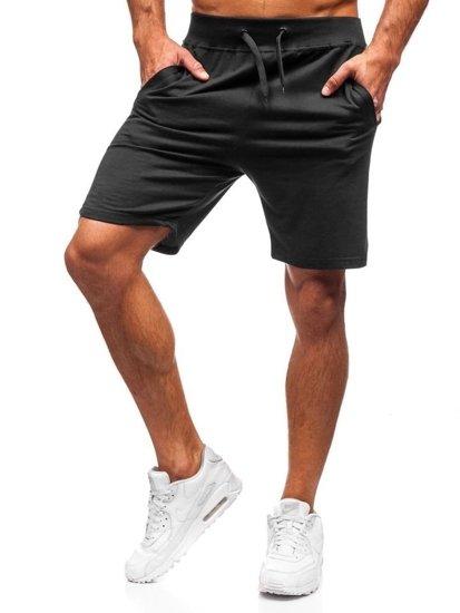 Černé pánské teplákové kraťasy Bolf AA10-A