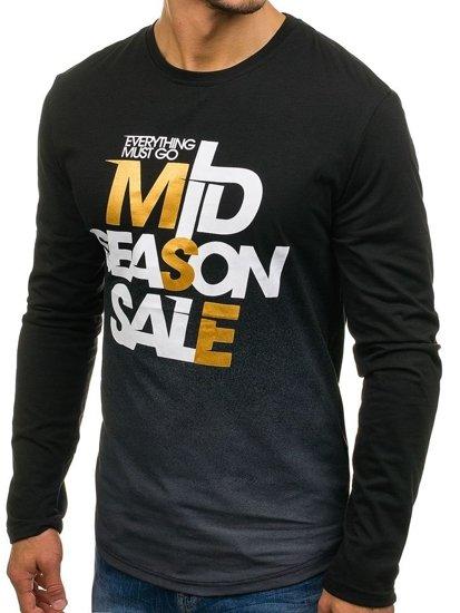 Černé pánské tričko s dlouhým rukávem a potiskem Bolf SX03