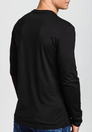 Černé pánské tričko s dlouhým rukávem s potiskem Bolf 120