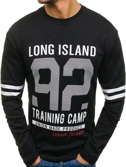 Černé pánské tričko s dlouhým rukávem s potiskem Bolf 4244