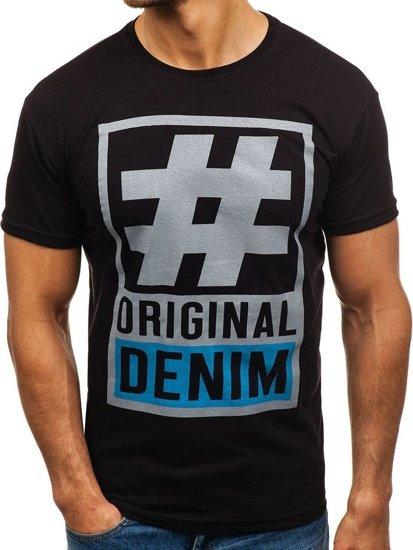 Černé pánské tričko s potiskem Bolf 008