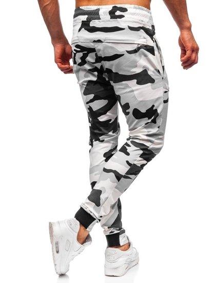 Černo-bílé pánské maskáčové jogger kalhoty Bolf 11119