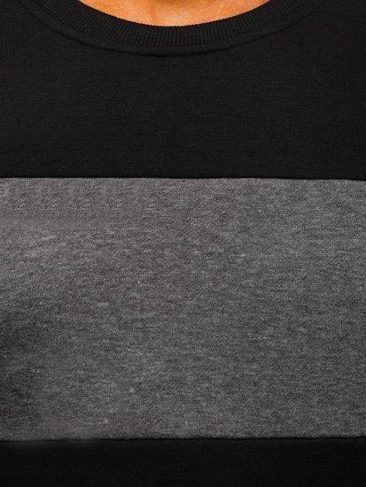 Černo-grafitová pánská mikina bez kapuce Bolf 2020