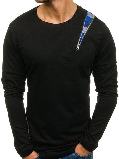 Černo-modrá pánská mikina bez kapuce Bolf 0754