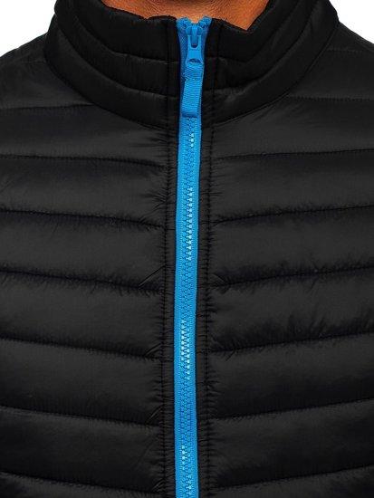 Černo-modrá pánská prošíváná vesta bez kapucí Bolf AB041