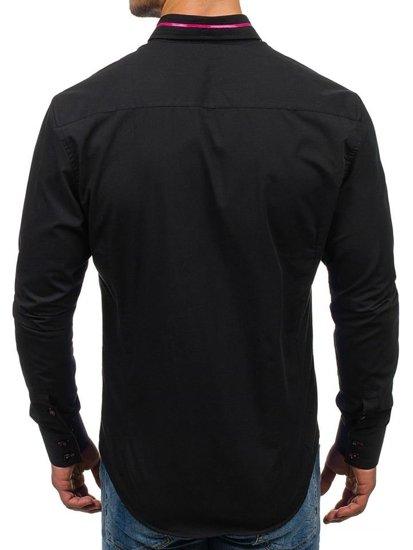 Černo-růžová pánská elegantní košile s dlouhým rukávem Bolf 2964