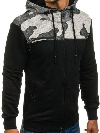 Černo-šedá pánská mikina na zip s kapucí Bolf 0915