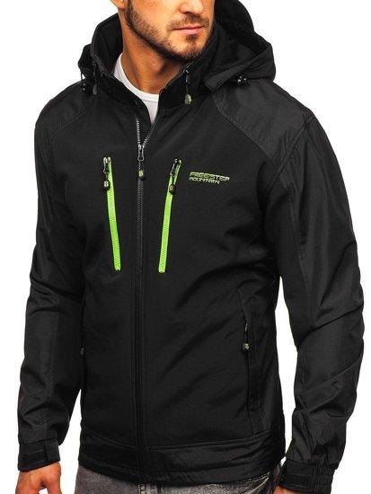 Černo-zelená pánská softshellová bunda Bolf P191