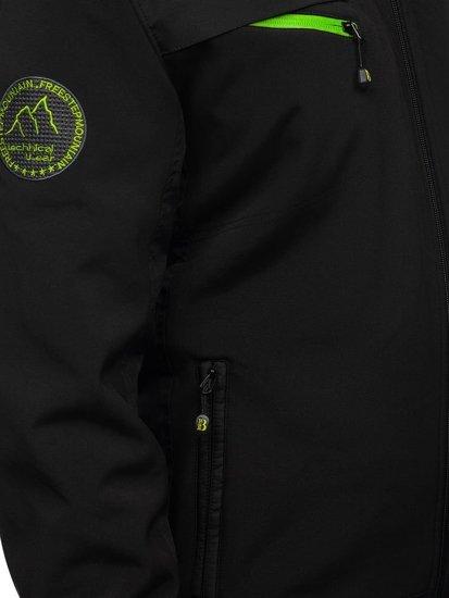 Černo-zelená pánská softshellová přechodová bunda Bolf P188