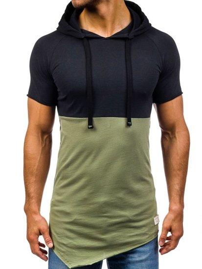 Černo-zelené pánské tričko bez potisku Bolf 1103