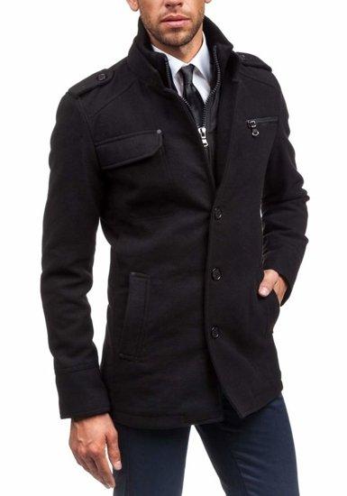 Černý pánský zimní kabát Bolf 8856B