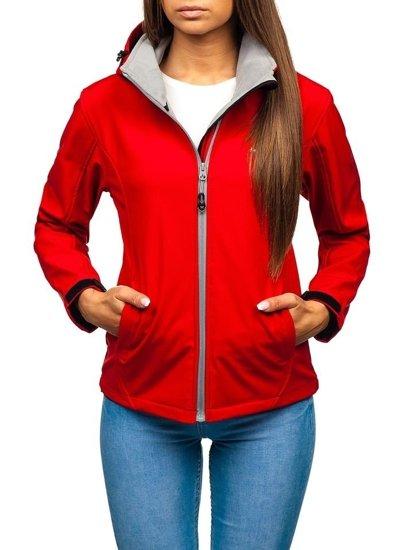 Červená dámská přechodová softshellová bunda Bolf AB056