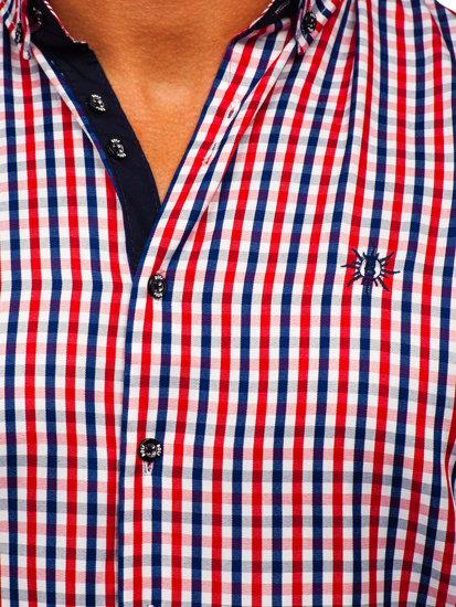 Červená pánská kostkovaná košile s dlouhým rukávem Bolf 4712