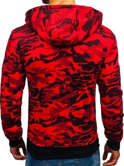 Červená pánská maskáčová mikina na zip s kapucí Bolf 33012