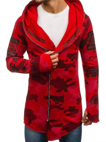 Červená pánská maskáčová mikina s kapucí a potiskem Bolf 0796