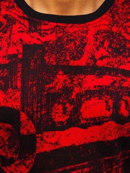 Červená pánská mikina bez kapuce s potiskem Bolf DD659