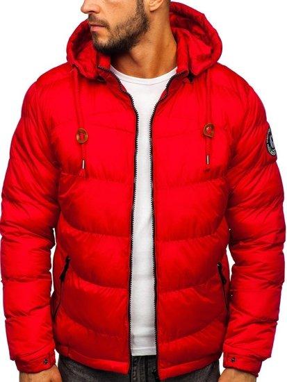 Červená pánská prošívaná sportovní zimní bunda Bolf 50A156