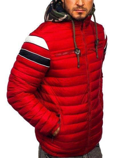 Červená pánská prošívaná sportovní zimní bunda Bolf 50A465