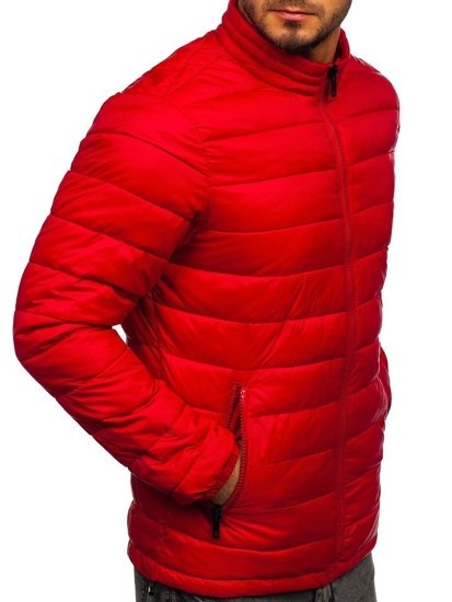 Červená pánská prošívaná zimní bunda Bolf 1119