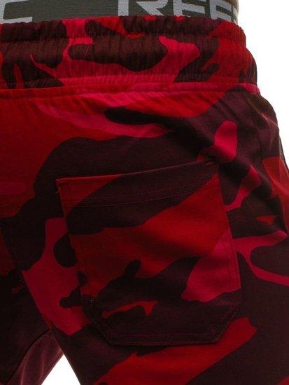 Červené pánské maskáčové jogger kalhoty Bolf 0367