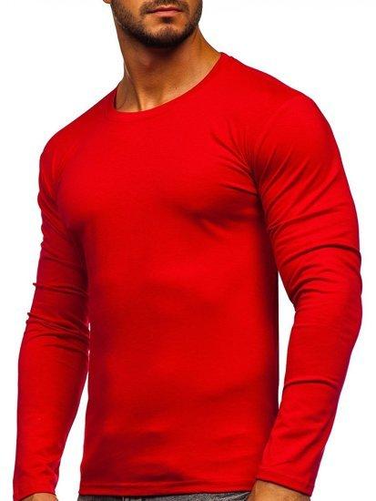 Červené pánské tričko s dlouhým rukávem bez potisku Bolf 2088L