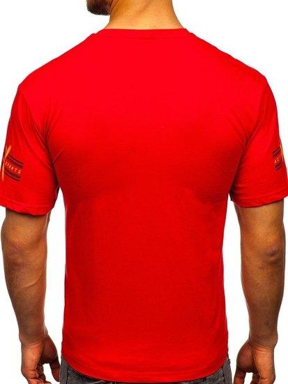 Červené pánské tričko s potiskem Bolf 14312