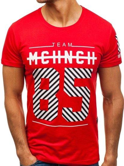 Červené pánské tričko s potiskem Bolf 2082