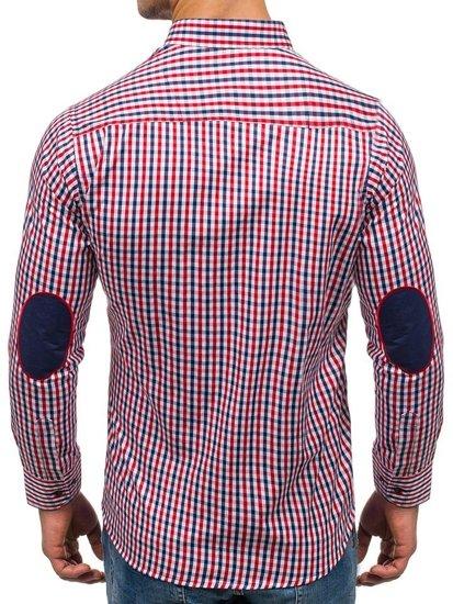 Červeno-tmavě modrá pánská kostkovaná košile s dlouhým rukávem Bolf 1931