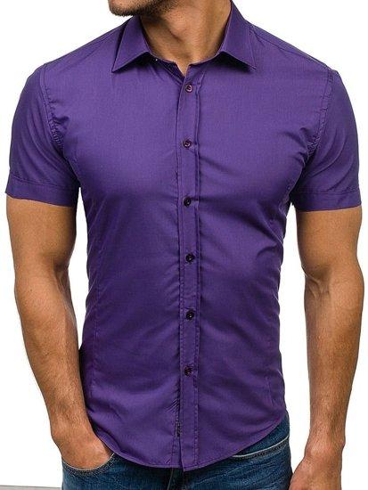 Fialová pánská elegantní košile s krátkým rukávem Bolf 7501