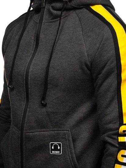 Grafitová pánská mikina na zip s kapucí a se sluchátky Bolf 81052
