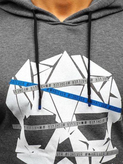 Grafitová pánská mikina s kapucí a potiskem Bolf KS1810