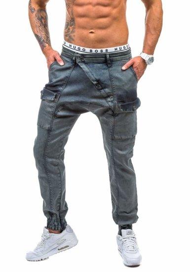 Grafitové pánské džínové jogger kalhoty Bolf 191
