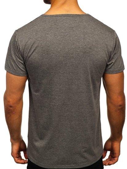 Grafitové pánské tričko s potiskem Bolf KS2014