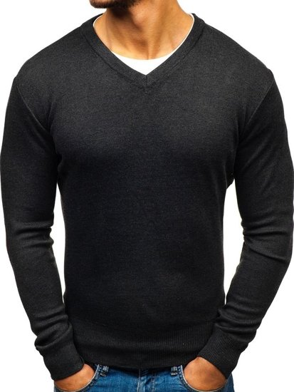 Grafitový pánský svetr s výstřihem do V Bolf BM6108