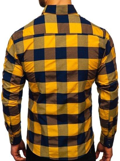 Hnědá pánská kostkovaná košile s dlouhým rukávem Bolf 4701-2