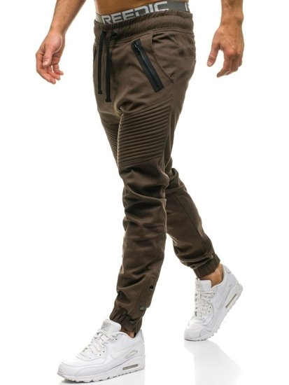 Hnědé pánské jogger kalhoty Bolf 0952