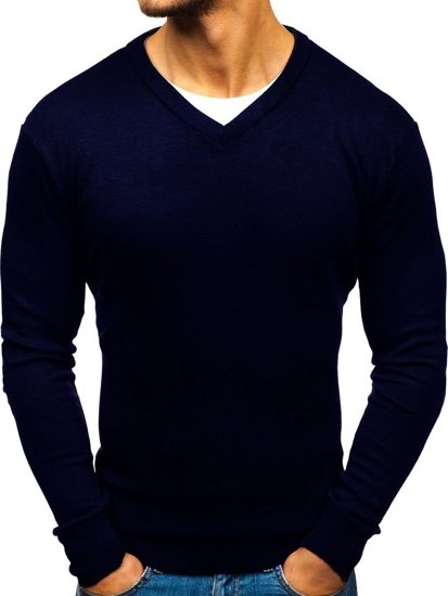 Inkoustově modrý pánský svetr s výstřihem do V Bolf BM6108