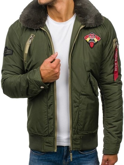 Khaki pánská zimní letecká bunda Bolf 3151